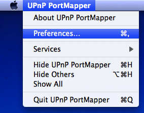The application menu of PortMapper under Mac OS X